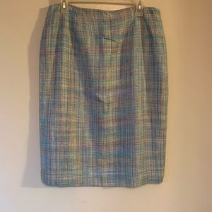 Doncaster | Blue & purple tweed silk lined skirt